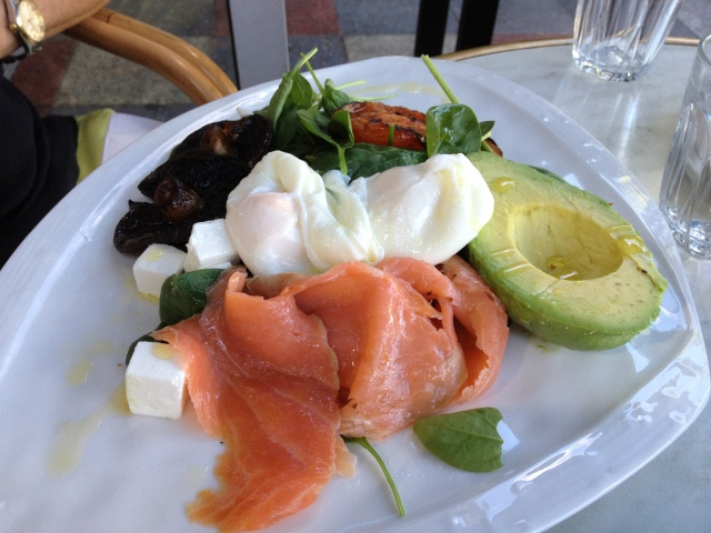 Salmon, Mushrooms, Avocado and Eggs